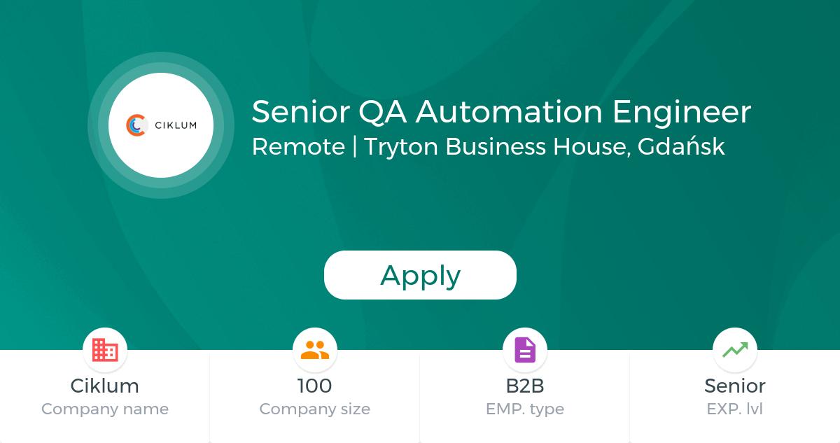 Senior Qa Automation Engineer  Ciklum