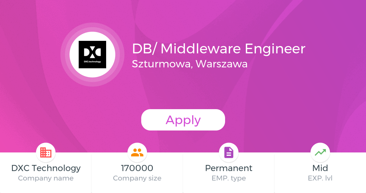 Db Middleware Engineer Dxc Technology